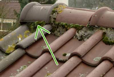 Eindstuk vervangen op een schuin dak